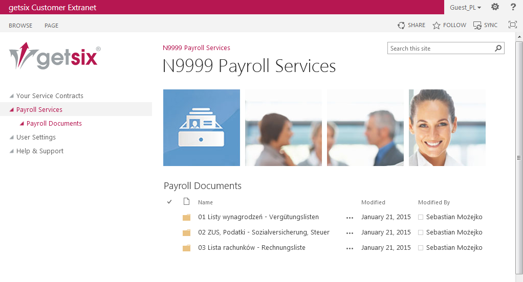 HR & Payroll outsourcing in Poland: Customer Extranet