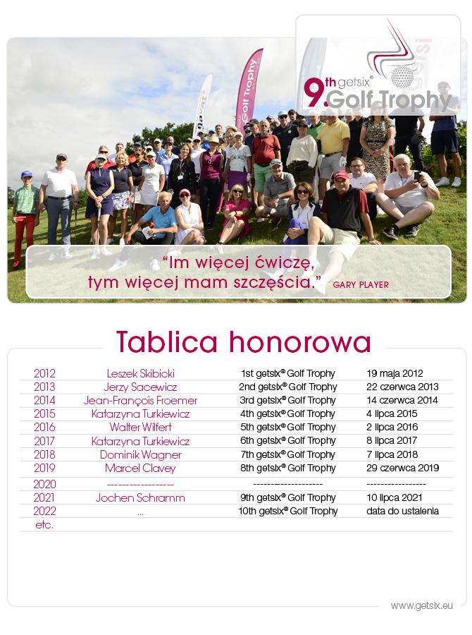tablica honorowa 9 getsix golf trophy